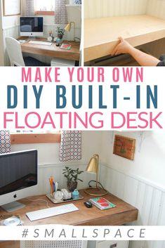 DIY Your Built-In Floating Desk in 6 Steps - DIY Passion Closet Desk, Home Office Closet, Build A Closet, Office Nook, Office Workspace, Floating Desk With Drawers, Built In Desk, Floating Shelves, Floating Computer Desk