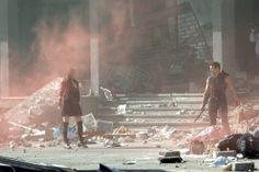 Elizabeth Olsen (Scarlet Witch) and Jeremy Renner (Hawkeye) on set of AVENGERS: AGE OF ULTRON