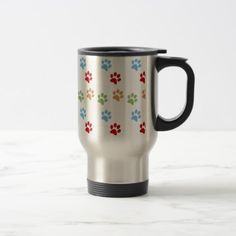 Dog footprint travel mug - dog puppy dogs doggy pup hound love pet best friend