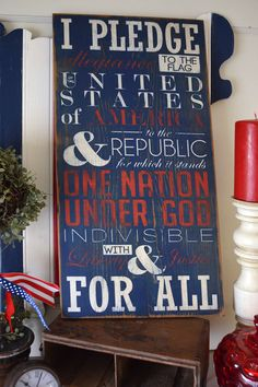Independence Day hand-painted sign on salvaged wood from Chippy Paint Designs.