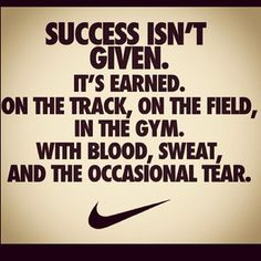 Success isn't given. It's earned. On the track, on the field, in the gym. With blood, sweat, and the occasional tear. http://fitgum.net