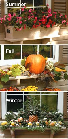 Window planter box...notice how this is just a shelf and you set the planter box on it in the spring/summer.