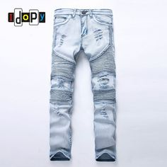 Aliexpress.com : Buy Fashion Men's Blue Ripped jeans Denim Pants Knee Hole Motorcycle Biker Jeans Slim Skinny Destroyed Torn Denim Trousers For Men  from Reliable jeans footwear suppliers on Idopy Store