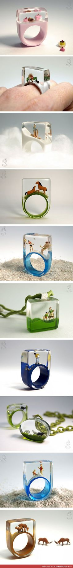 What It Looks Like When You Put Miniature Scenes Inside Rings