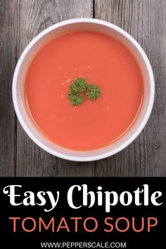 Just a little chipotle in adobo sauce can go a long way into fueling the fire of your traditional tomato soup. Chipotle pepper adds a delicious smoky heat, and a little extra adobo sauce provides a nice earthy undertone to the soup. #chipotle #tomatosoup #chipotlepepper #adobosauce #tomatosoupwithchipotle Spicy Vegetarian Recipes, Vegetarian Soup, Healthy Soup Recipes, Spicy Appetizers, Vegetarian Appetizers, Spicy Steak, Dairy Free Soup, Spicy Soup, Chipotle Pepper