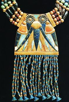 *EGYPT ~ Necklace with lunar pectoral, from the Tomb of Tutankhamun, (electrum,feldspar,lapis lazuli and gold beads). Ancient Egyptian Artifacts, Ancient Egyptian Jewelry, Egyptian Symbols, Egypt Jewelry, Viking Jewelry, Egypt Museum, Electrum, Long Pearl Necklaces, South Indian Jewellery