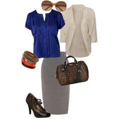 """grey pencil skirt outfit"" by khkirstie on Polyvore"