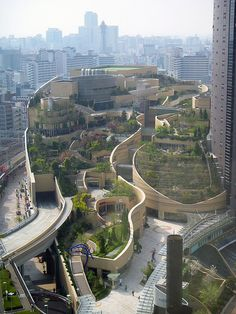 Namba Parks. This insane architecture is the aftermath of a baseball stadium being abandoned in Osaka Japan; a new opportunity revealed itself and brought a bit of green regeneration to the urban jungle.