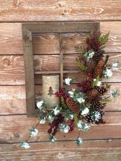 Window Decorations : Holiday Christmas Window Frame by FloralsAndSpice on Etsy: Christmas Frames, Noel Christmas, Rustic Christmas, All Things Christmas, Winter Christmas, Christmas Wreaths, Christmas Ornaments, Simple Christmas, Primitive Christmas Crafts
