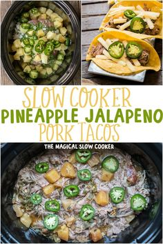 These Slow Cooker Pineapple Jalapeno Pork Tacos are a perfect blend of sweet and spicy and who doesn't like pulled pork? These Slow Cooker Pineapple Jalapeno Pork Tacos are a perfect blend of sweet and spicy and who doesn't like pulled pork? Easy Homemade Recipes, Healthy Crockpot Recipes, Pork Recipes, Slow Cooker Recipes, Mexican Food Recipes, Crockpot Meals, Vegan Recipes, Quesadillas, Food Cakes
