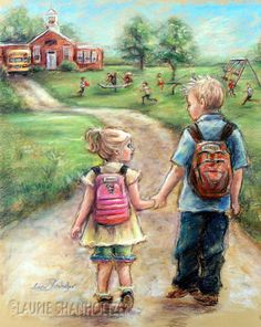 """Take My Hand Little Sis paper or canvas print of original painting - Laurie Shanholtzer ~ Childhood memories of my big brother - My guide, my champion, my defender"