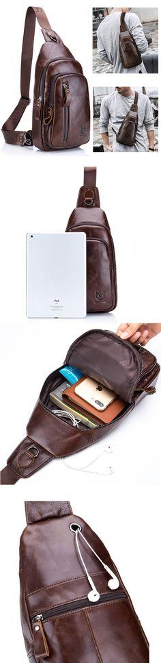 Bullcaptain Casual Vintage Genuine Leather Multi-pocket Chest Bag Crossbody Shoulder Bag For Men