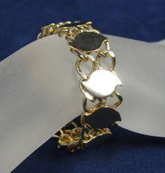 "Vintage Bracelet Gold CHUNKY Link Chain Flat Swirls 7.25""  #Unbranded #Chain"