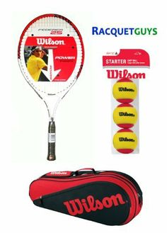 WILSON JUNIOR TENNIS PACK - Federer 25 inch Racket - Racket Bag - Starter Balls - for 8-10 age range by Wilson. $49.95. Everything you need to get your child started with tennis.  Includes a quality 25 inch Wilson Roger Federer racquet suited for the 8-10 age range.  Wilson Triple bag with a main compartment for up to three racquets and an accessory compartment to hold additional items such as balls and a water bottle.  Starter balls are low compression balls designed for a sho...