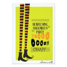 """""""Witch's Long Legs and Boots"""" Halloween Party Invitation 8,9 X 12,7 cm #HalloweenIdeas #halloweenparty #halloweeninvitation #wicked"""