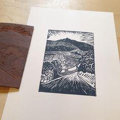 Moel Fammau #linoprint #linocut #wales