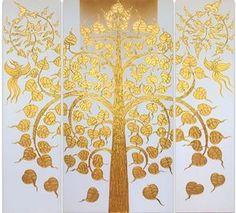Tree Of Life Artwork, Tree Of Life Painting, Buddha Painting, Tree Wall Art, Black Background Painting, Bodhi Tree, Tree Tree, Thailand Art, Paintings Famous
