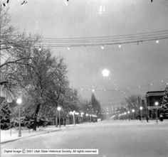 Ephraim Street, possibly Center Street, decorated for Christmas. Ephraim Utah, Snow College, Utah Snow, Historical Society, Places To Go, Beehive, Mountains, Photographs, Outdoor