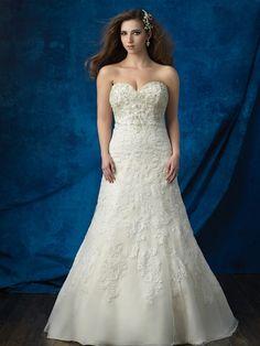 Allure Women's W382 - A-line gown - lace - Swarovski crystals - plus size bridal