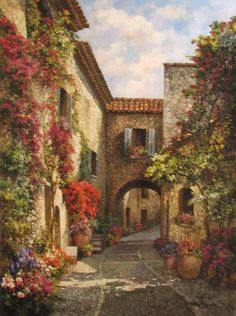 painting by Paul Guy Gantner Pretty Pictures, Art Pictures, Art Watercolor, Paintings I Love, Landscape Art, Creative Art, Painting & Drawing, Art Drawings, Beautiful Places