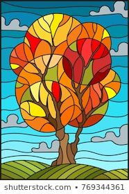 Illustration of Illustration in stained glass style with autumn tree on sky background with clouds vector art, clipart and stock vectors. Stained Glass Quilt, Stained Glass Patterns, Autumn Art, Autumn Trees, Autumn Leaves, Afrique Art, Art Watercolor, Illustration, Arte Pop
