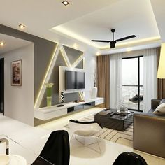 8 Simple Tips Can Change Your Life: False Ceiling Ideas Brick Walls false ceiling lights architecture.False Ceiling Design Wooden false ceiling bedroom tips. Tv Console Design, Tv Unit Design, Tv Wall Design, Hall Design, House Design, Ceiling Light Design, False Ceiling Design, Ceiling Lights, Design Living Room