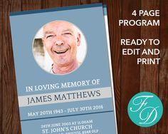 Funeral Program Template Order Of Service Memorial Programs