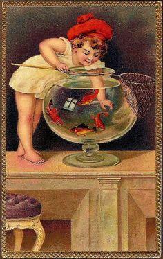 Vintage Post Card Art Greetings Child with Goldfish Lambin, George Cochran Girl w Goldfish Bowl Vintage Cards, Vintage Postcards, Vintage Images, Art Through The Ages, Fish Tales, Fairytale Art, Victorian Art, Fish Art, Art Themes