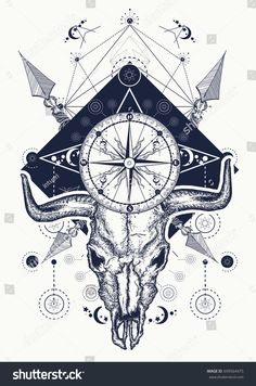 Find Skull Bull Tattoo Tshirt Design Wild stock images in HD and millions of other royalty-free stock photos, illustrations and vectors in the Shutterstock collection. Bull Skull Tattoos, Bull Skulls, Animal Skulls, Compass Art, Compass Tattoo, Bruder Tattoo, Natur Tattoo Arm, Nature Tattoo Sleeve, Native American Tattoos