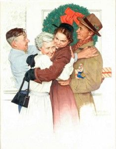 """""""Home for Christmas,"""" Norman Rockwell, Oil on canvas. Norman Rockwell Museum Collections, gift of Sheaffer-Eaton Illustration for Shea. Peintures Norman Rockwell, Norman Rockwell Art, Norman Rockwell Paintings, Christmas Past, Vintage Christmas, Xmas, Christmas Store, Christmas Quotes, Christmas Morning"""