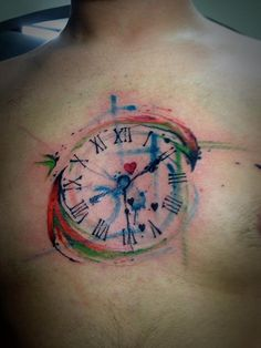 Amazing watercolor tattoo by Victor Octaviano maybe get two small ones with the times my kids were born?