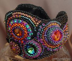 New York Times Square  Bead Embroidered Bracelet by 4uidzne, $285.00