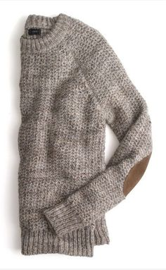 Winter sweater with suede elbow patches