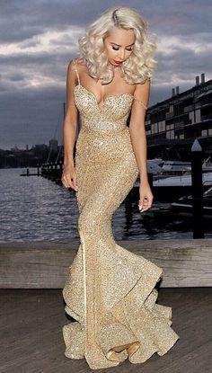 mermaid gold sequins spaghetti straps long prom dresses, elegant prom dresses, sexy prom dresses, mermaid prom dresses 2016 dressywomen.com