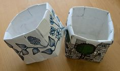 Baskets made of newspaper, then painted and decorated with decoupage