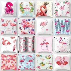 Pink Flamingo Pillow Cushion Decorative Cushion Cover Romantic Lover Flamingo Pillow Covers Decorative Home Decor 40549 Pillow Covers, Swarovski Crystal Figurines, Decorative Cushions, Tropical Paradise, Pink Flamingos, Print Patterns, Canvas Art, Romantic