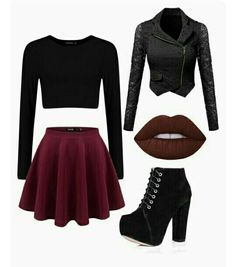 A fashion look from March 2016 featuring cropped white shirt, lace blazer jacket and wide skirt. Browse and shop related looks. Cute Emo Outfits, Bad Girl Outfits, Really Cute Outfits, Teenage Girl Outfits, Komplette Outfits, Girls Fashion Clothes, Teen Fashion Outfits, Cute Fashion, Look Fashion