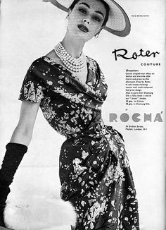 1950s fashion. What about this silhouette for a wedding dress? shorter gloves?