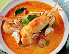 """Tom Yum Goong is a """"hot and sour"""" type of soup containing shrimp and fragrant spices. Commonly served before meals. Originated in Thailand but adapted versions are served in neighbouring countries. Lime Leaves Recipes, Soup Recipes, Cooking Recipes, Tom Yum Soup, Healthy Asian Recipes, Cambodian Food, Soup Dish, Hot And Sour Soup, Thai Street Food"""