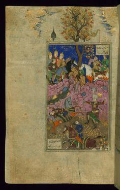 Rustam Kills Ashkabus and his Horse -  Shahama (Walters manuscript) Firdawsi (Persian, died 411-416 AH/AD 1020-1025) (Author) Muhammad Mirak ibn Mir Muhammad al-Husayni al-Ustadi (Scribe) Herat (?), 1028 AH/AD 1618-1619 ink and pigments on laid paper ACCESSION NUMBER W.602.204A MEASUREMENTS H: 14 3/8 x W: 9 1/4 in. (36.5 x 23.5 cm) The Walters Museum