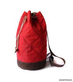 torebki różne - damskie- worek plecak - red&chocolate&stripes -