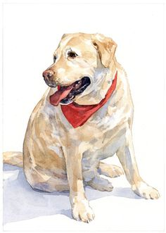 Custom Pet Portrait 5x7 Dog Watercolor Painting by studiotuesday
