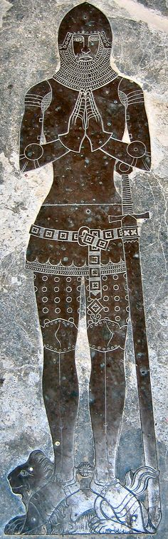 Moorish Knight and African Lion - Brass of John de Argentine, died in 1382, Horseheath