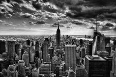 Toile Photo - Vue du ciel sur Manhattan, New York en Noire et Blanc