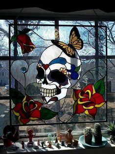 Beautiful skull stained glass.