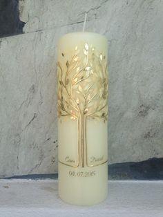 """Hochzeitskerze+""""Lebensbaum""""+Nr.+7+gold/creme/weiß+von+Hänsel+&+Gretel+Candleart+auf+DaWanda.com"""