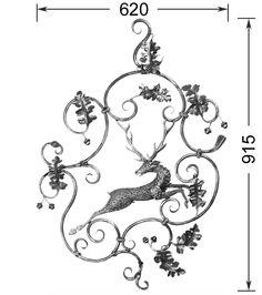 Panneau Cerf HAUTEUR 915 MM x 620 MM LARGEUR Panneaux décoratifs Elements en fer forgé Rond 10 Plein Acier (fer) Bosi la forge artistique