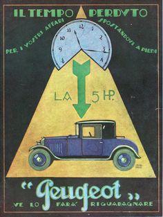 PUBBLICITA' AUTO PEUGEOT 5 HP CHASSIS TEMPO OROLOGIO VENEZIANI 1924 | eBay