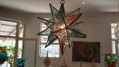 Hand crafted by Asaf Zakay Kitchen Pendant Lighting, Glass Pendant Light, Pendant Lights, Glass Pendants, Hanging Star Light, Nick Nacks, Glass Terrarium, Moroccan Style, Stained Glass Art