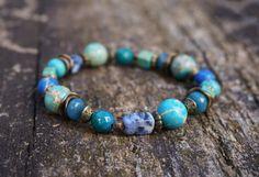 Boho Blue Lagoon Stretch Bracelet Bohemian Hippie Gypsy by ByLEXY